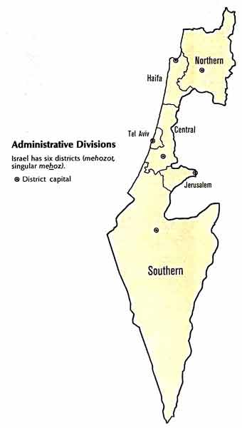 Map of Israel Administrative Divisions 1993
