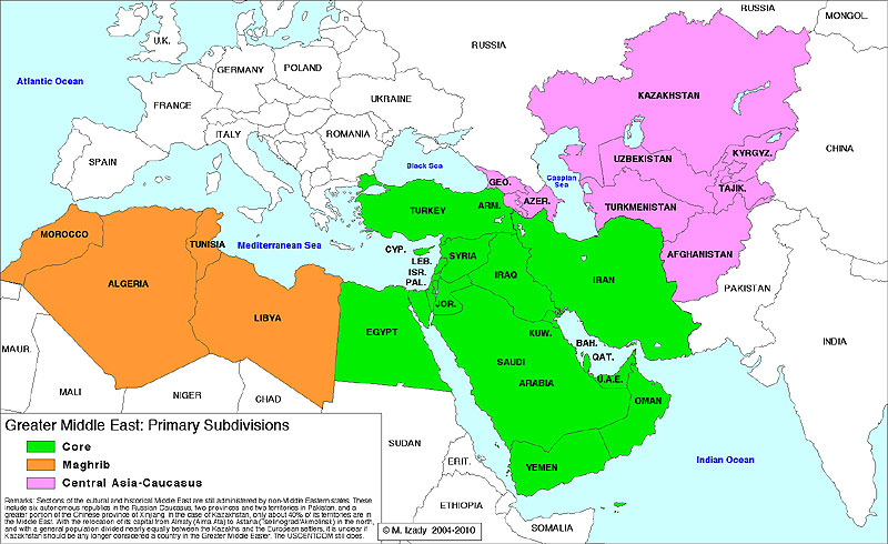Map of The Greater Middle East - Primary Subdivisions