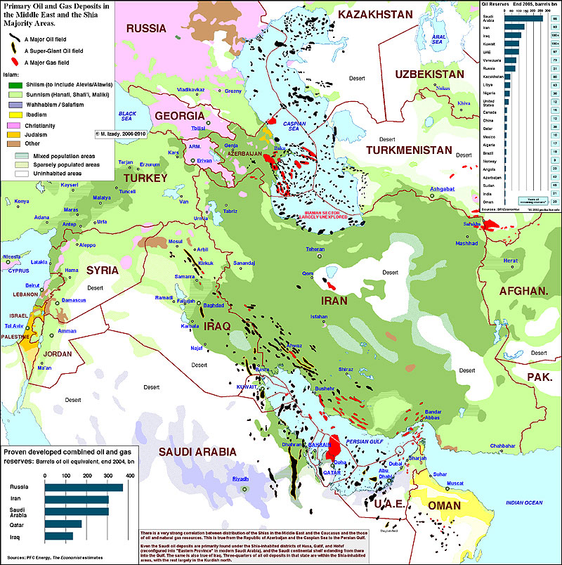 Map of Middle East Oil Resources