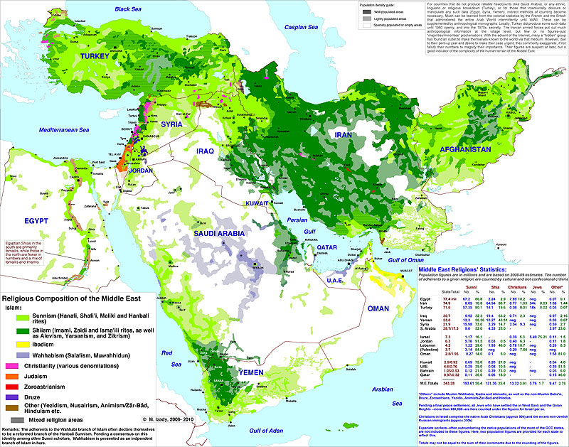 Map Of Middle East Religions - World religion map reddit