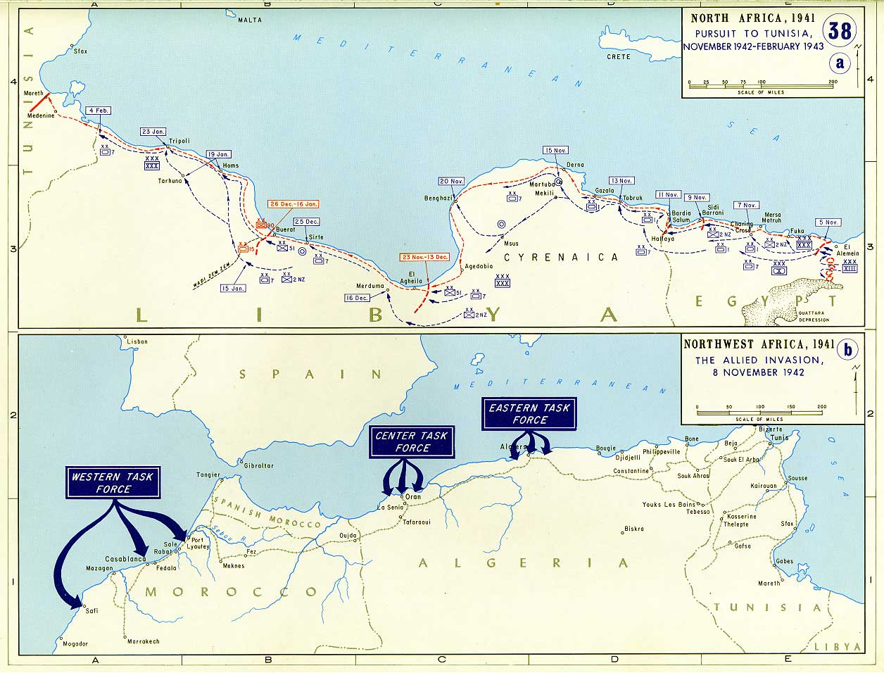 Map of allied invasion of northwest africa 1942 1943 wwii war theatre maps allied invasion of northwest africa gumiabroncs Image collections