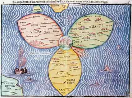 Bntings cloverleaf map 1581 the blue ocean is titled the great mediterranean sea of the world only the red sea is colored red and shown separately gumiabroncs Images
