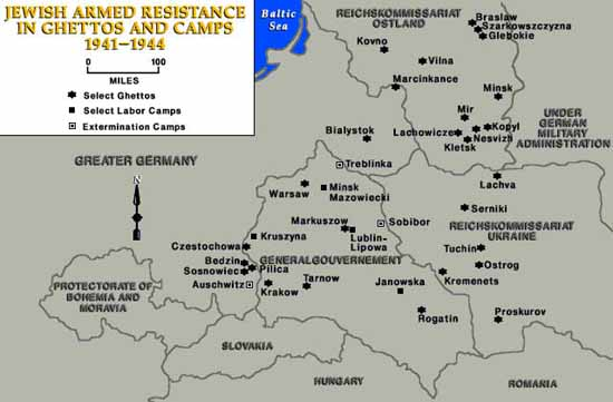 Map Of Jewish Resistance In Ghettos And Camps - Us concentration camps ww2 map