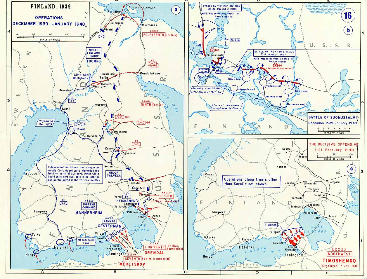Map Of RussoFinnish War - Map from 1940 us