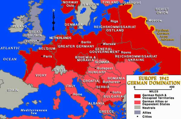 map of nazi controlled europe German Occupied Europe