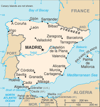 Map Of Spain Under Moorish Rule.Spain Virtual Jewish History Tour