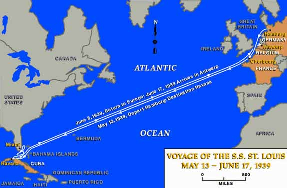 The Voyage of the SS St. Louis Map
