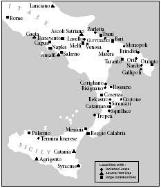 Distribution of Jews in southern Italy in the second half of the 12th century.