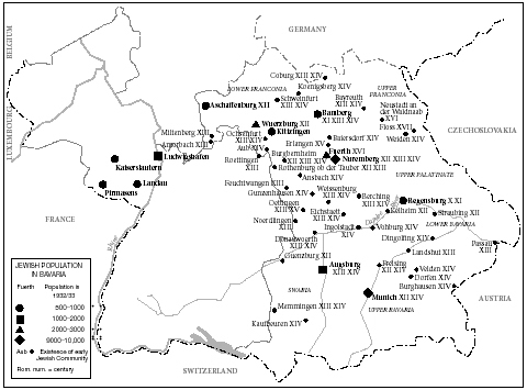 Map of Bavaria showing Jewish population centers from the tenth century to 1932-33.