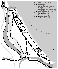 Map showing the site of the Canaanite city of Bet Yera in relation to the modern Oholo. After P. Delougaz and R.C. Haines, A Byzantine Church at Kirbat Al-Karak, 1960.