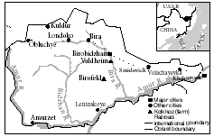 Map of the Birobidzhan region.