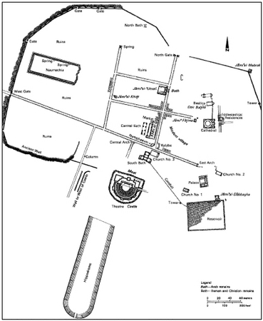 Remains of the ancient city of Bozrah. (1). After H. C. Butler, Architecture and Other Arts, Princeton University Press.