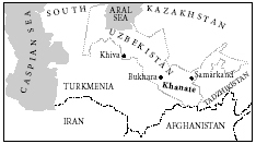 Map showing the location of Bukhara, Uzbekistan
