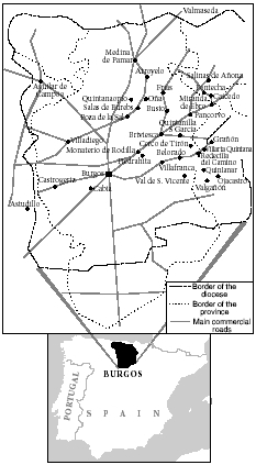 Jewish centers of population in the diocese and province of Burgos at the period of maximum settlement, before 1492. Sefarad, vol. 8, 1948.