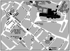 Map of medieval Canterbury showing the Jewish quarter. After M. Adler, Jews of Medieval England.