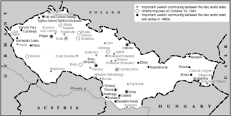 Major Jewish communities in Czechoslovakia from World War I to the 1980s (including involuntary settlement-ghettos as of October 1941).