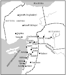 The Hittite empire of the second millennium B.C.E. (c. 18001200). Based on the Westminster Historical Atlas to the Bible, Philadelphia, Pa., 1945.