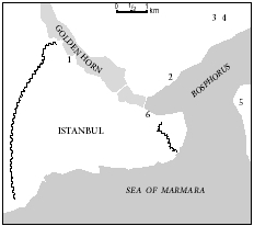 Figure 1. Jewish quarters in Istanbul in the 17th century. 1. Areas designated for Jewish settlement by Sultan Muhammad II in 1453. 2. The Jews Bath is believed to have been in this neighborhood. 3. Area with a majority of Jewish inhabitants.