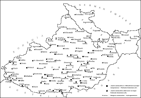 Jewish Communities in Moravia before World War I. After Th. Haas, Die Juden in Maehren, 1908.