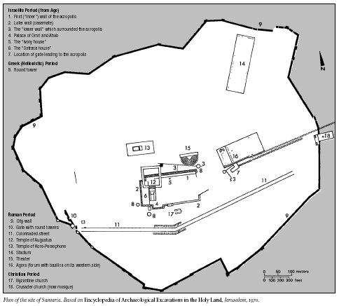 Plan of the site of Samaria. Based on Encyclopedia of Archaeological Excavations in the Holy Land, Jerusalem, 1970.