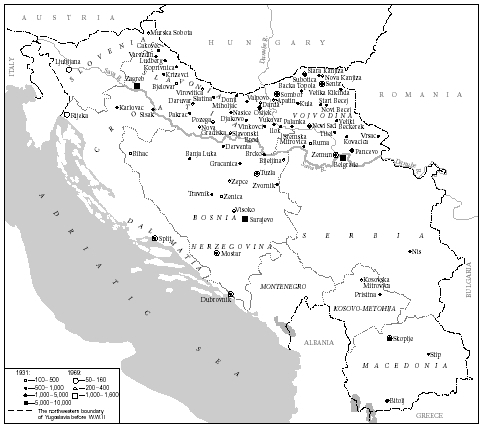 Jewish communities in Yugoslavia in 1931 and 1969. Courtesy Federation of Jewish Communities in Yugoslavia, Belgrade.